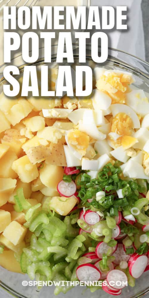 ingredients to make Classic Potato Salad in a bowl with a title