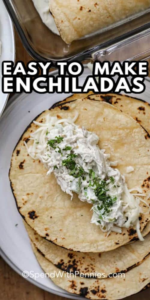 open Creamy Enchiladas with a title