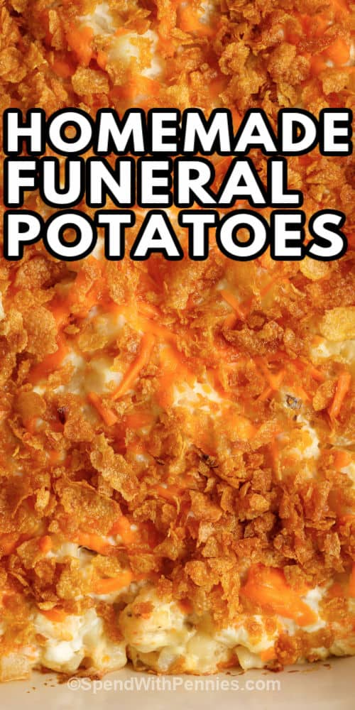 close up of Funeral Potatoes with writing