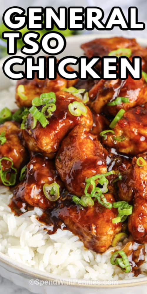 General Tso Chicken in a dish with a title