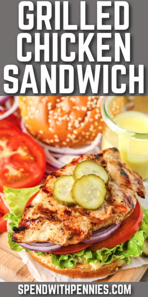 Grilled Chicken Sandwich with writing