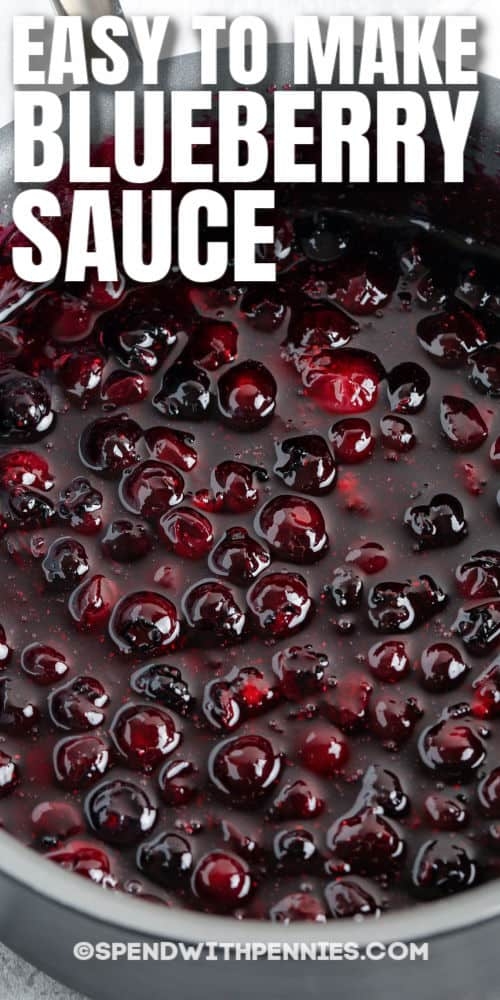 Homemade Blueberry Sauce in a pan with writing