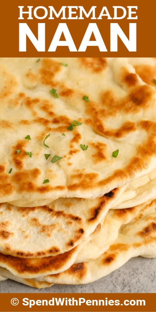 Close up of naan bread with writing