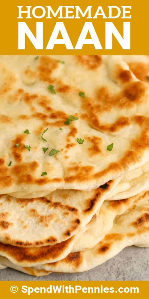 Close up of homemade naan bread with writing