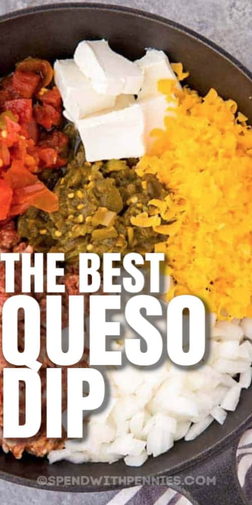 ingredients to make Queso Dip with writing