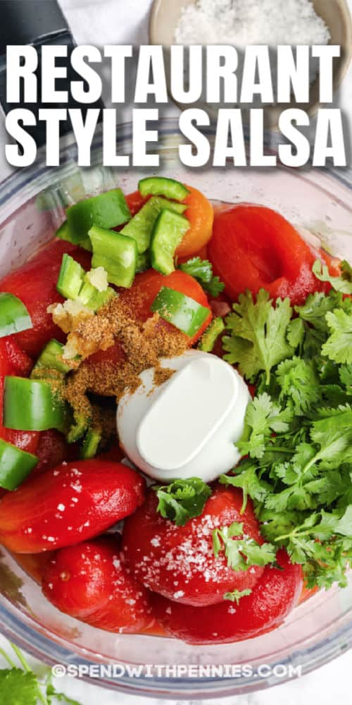 ingredients to make Restaurant Style Salsa with writing