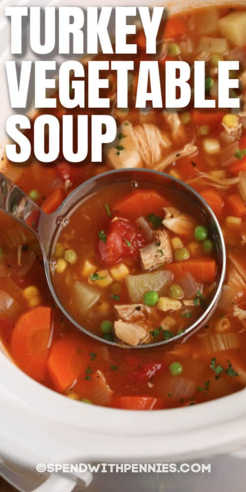 close up of laddle of Slow Cooker Turkey Vegetable Soup with writing