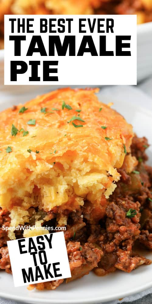 plated Tamale Pie with writing
