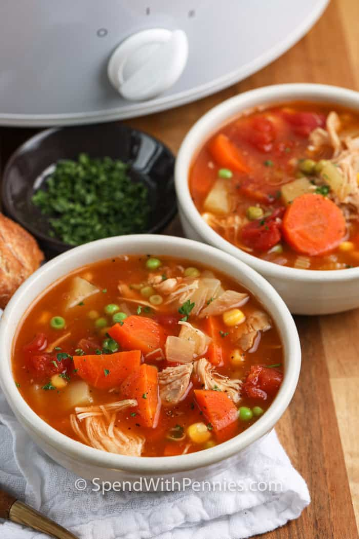 2 bowls of Slow Cooker Turkey Vegetable Soup