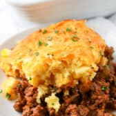 piece of Tamale Pie on a white plate