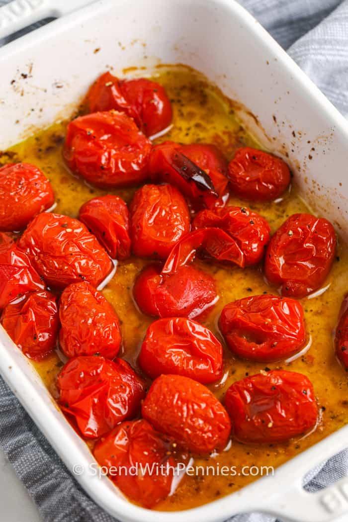 tomatoes marinating to make whipped feta