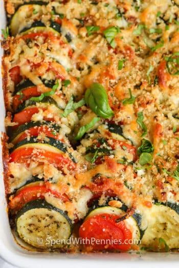 close up of a baked Zucchini Casserole
