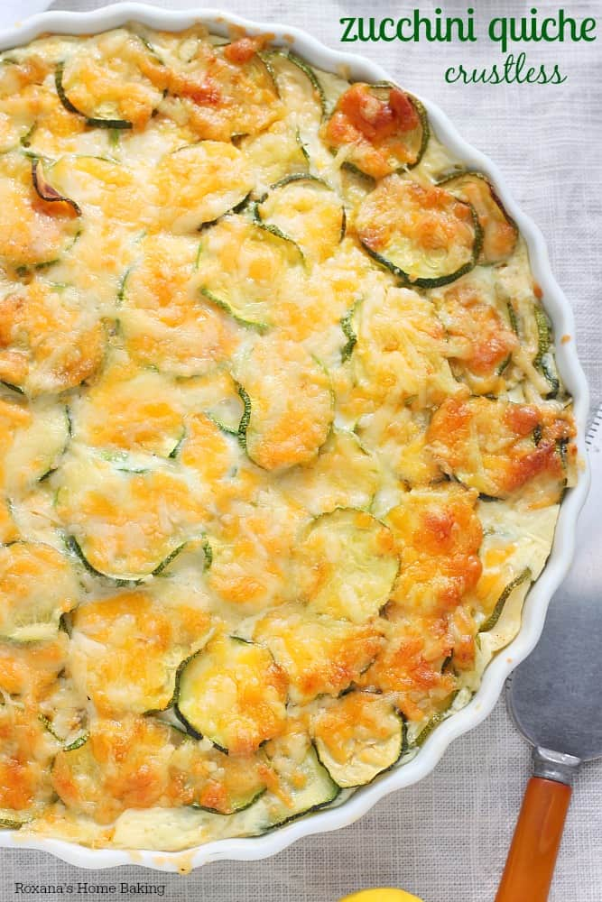 Zucchini Quiche in a dish with writing
