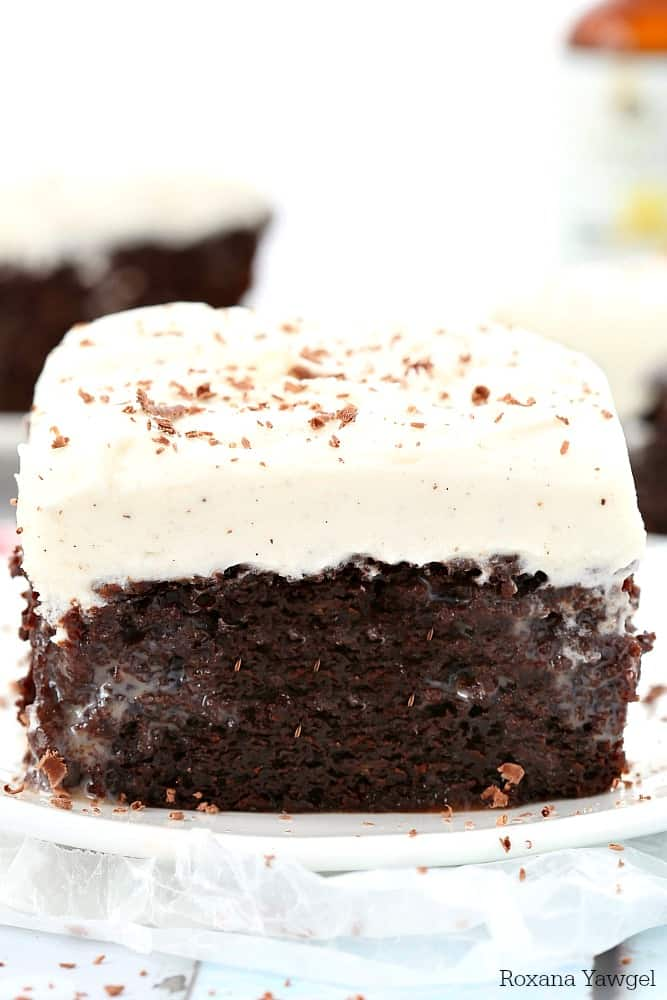 double chocolate poke cake with vanilla bean frosting on a white plate