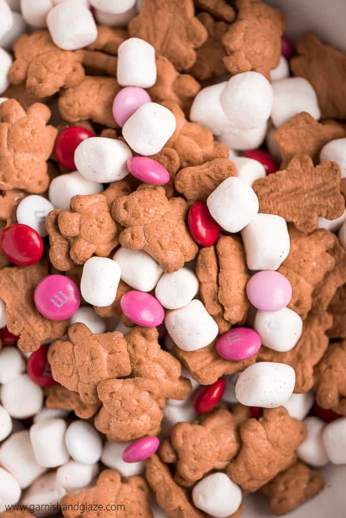 Valentines Smores Trail Mix in a bowl