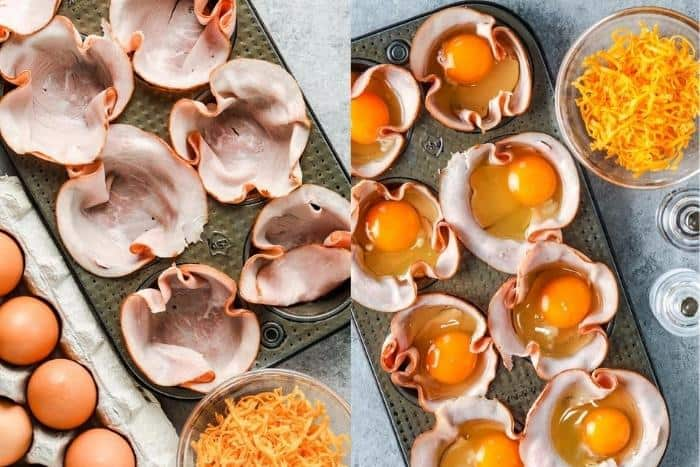 process of adding eggs to muffin tin to make Baked Eggs