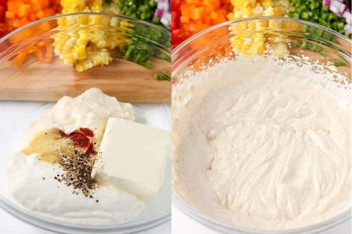 process of adding ingredients to bowl to make Confetti Corn Dip