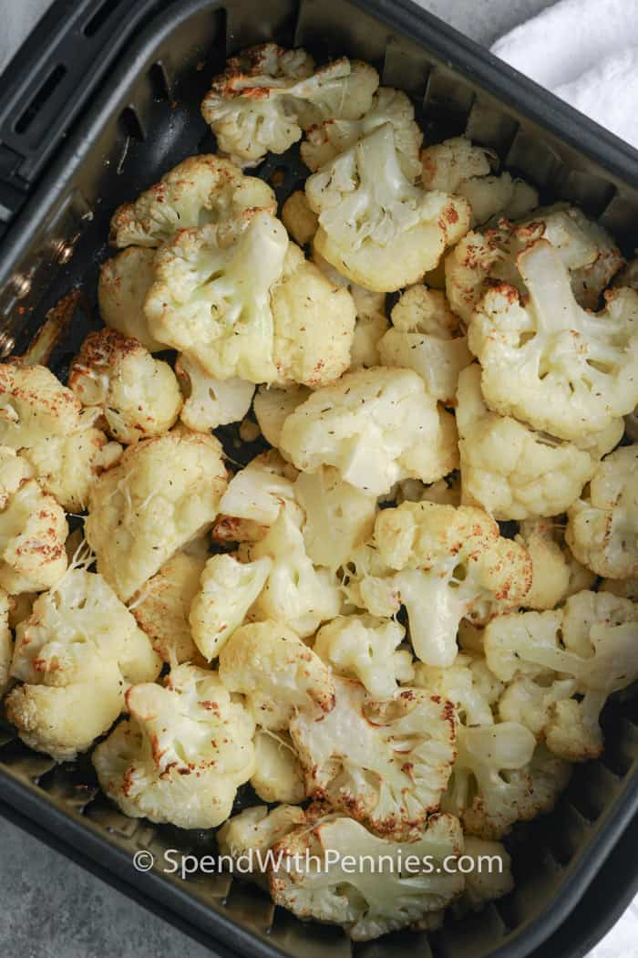 Air Fryer Cauliflower in the air fryer after frying