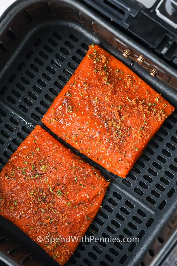 Air Fryer Salmon in the air fryer before cooking