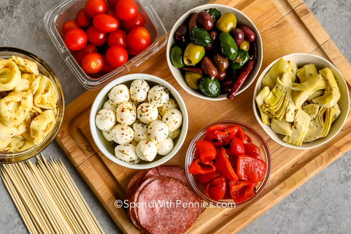 ingredients to make antipasto skewers