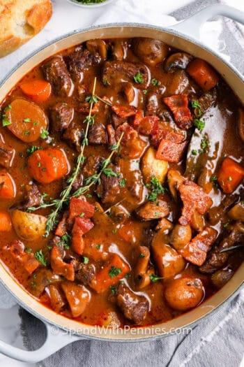 pot full of Beef Bourguignon