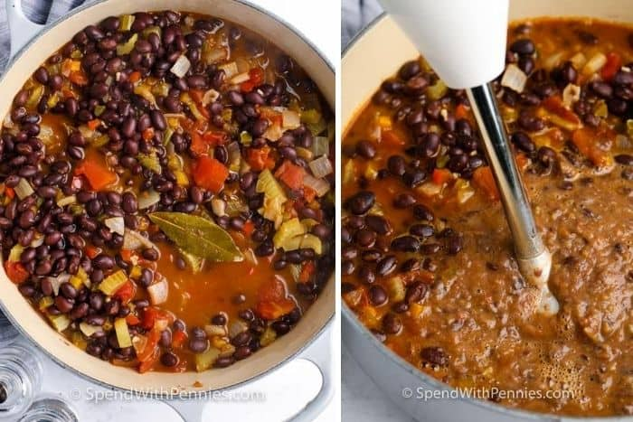 Blending ingredients in a pot with black beans and vegetables