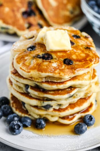Blueberry Pancakes with butter and syrup