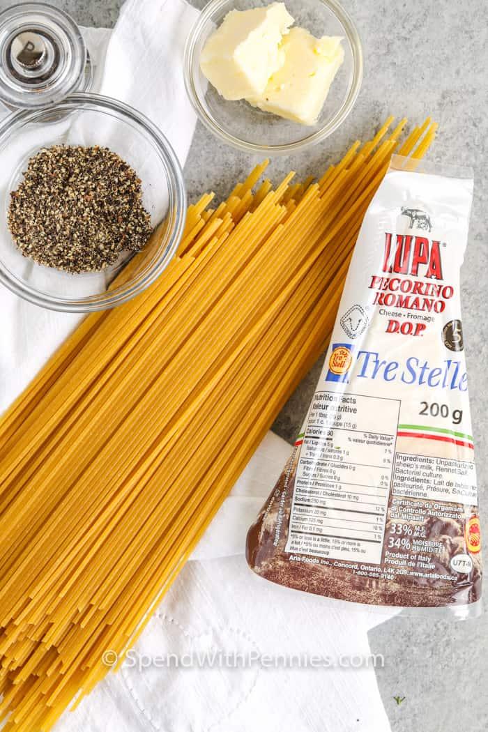 ingredients to make Cacio e Pepe