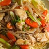Chicken Chop Suey on noodles