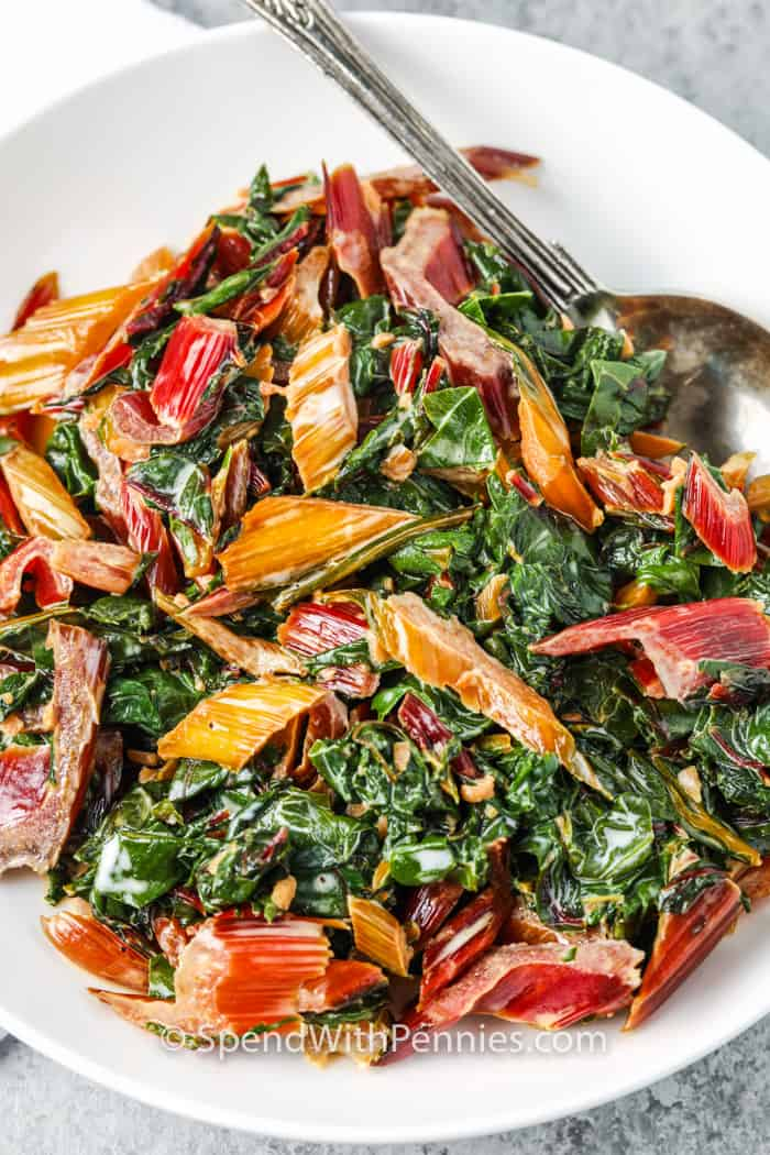 Creamed Swiss Chard in a bowl with a spoon