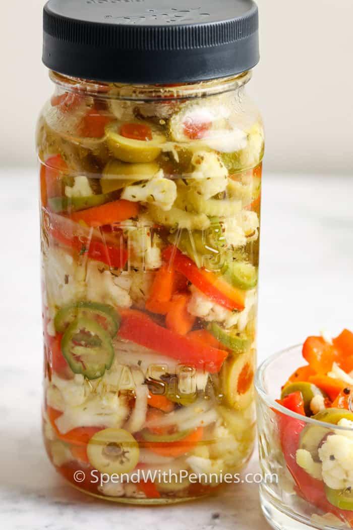 finished Giardiniera in a jar
