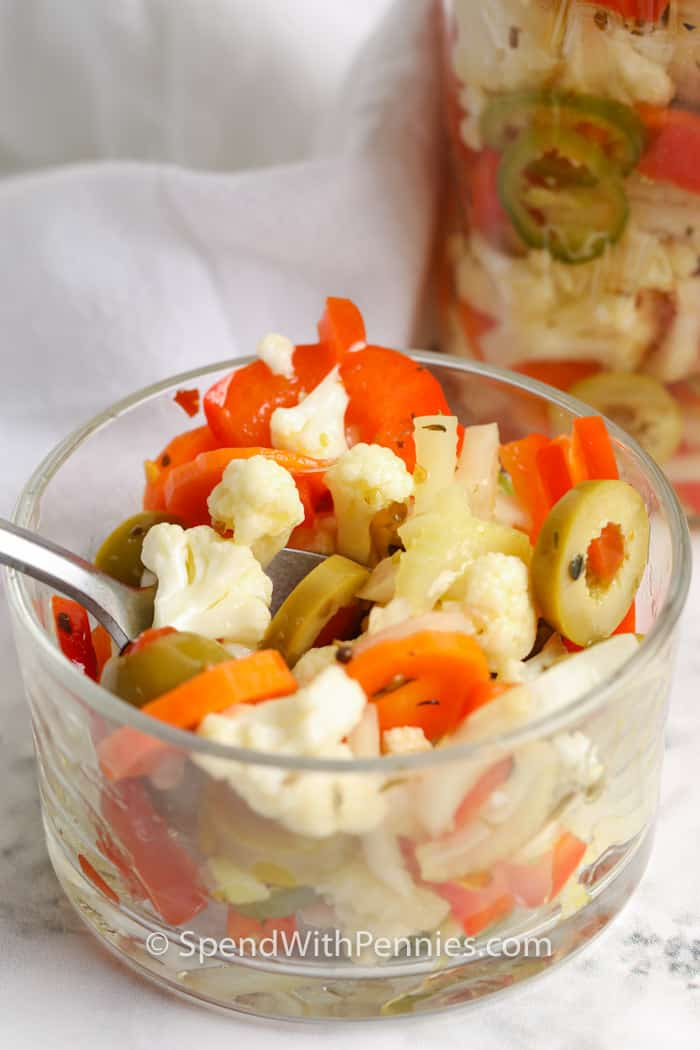 close up of Giardiniera in a small glass bowl