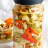 Giardiniera in a jar and a bowl