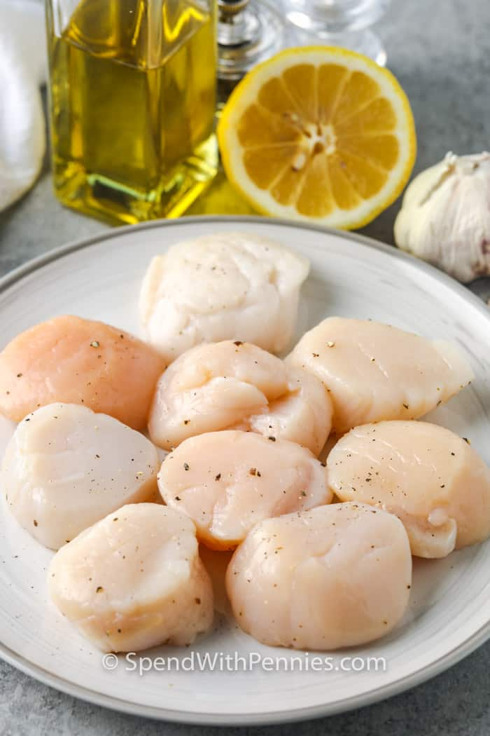 scallops on a plate with lemon , oil and garlic in the background