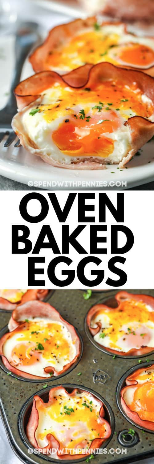 Baked Eggs in a baking sheet and plated with writing