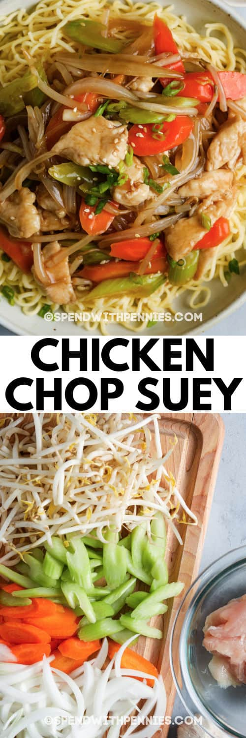 ingredients to make Chicken Chop Suey with plated dish and writing