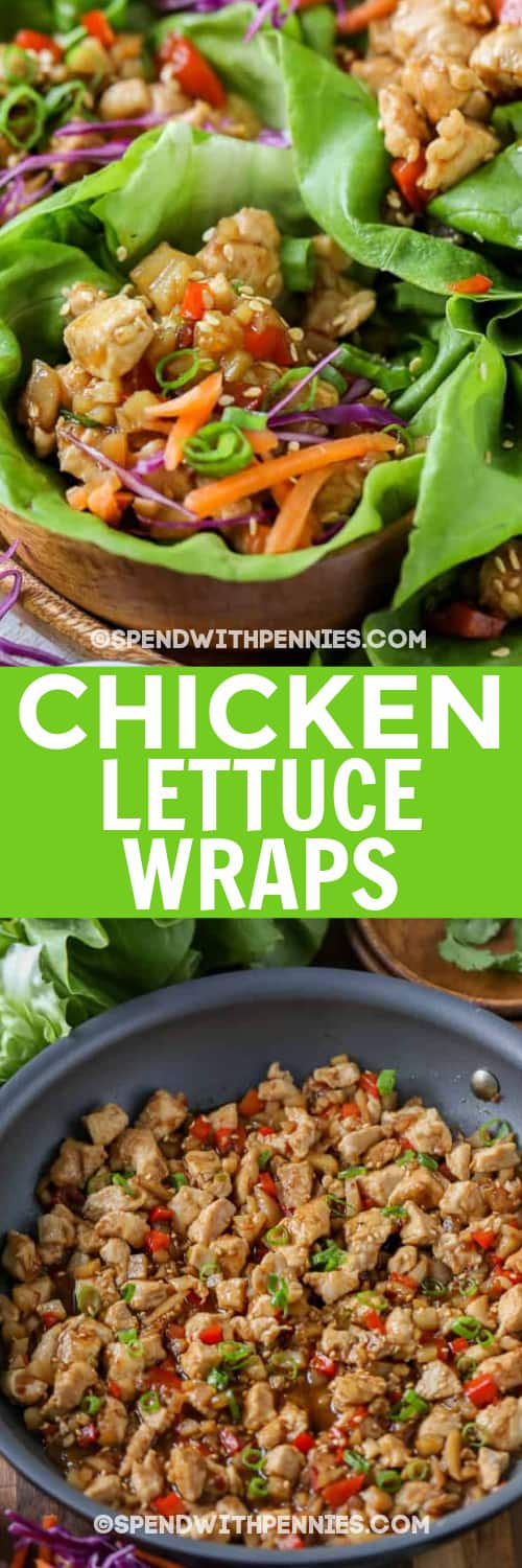 Chicken Lettuce Wraps in brown bowls, and ground chicken in a pan under the title.
