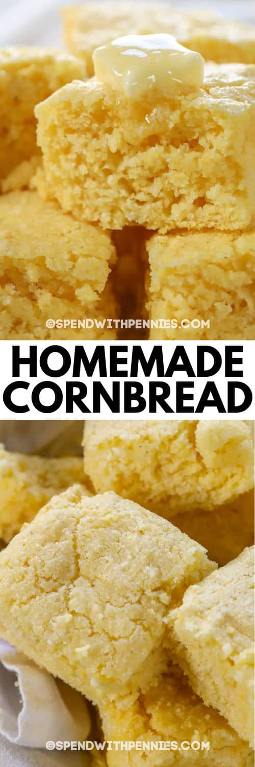 Cornbread before and after melting butter on top with writing