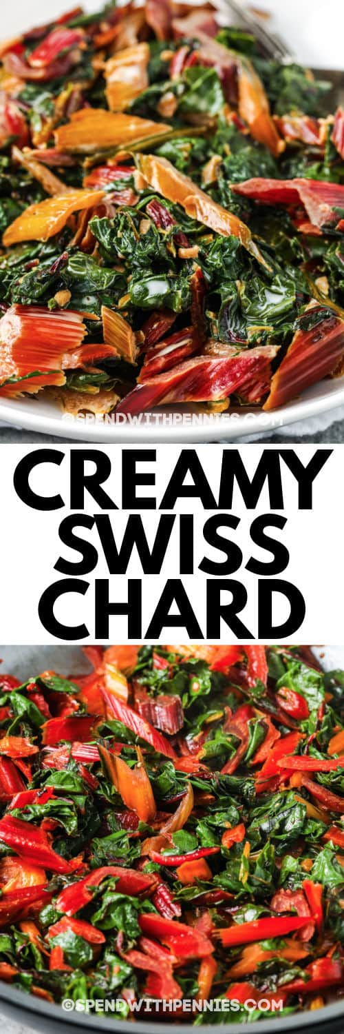 Creamed Swiss Chard in a pan and plated with a title