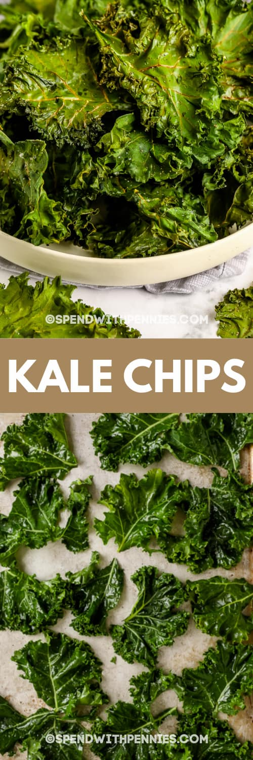 Kale chips on a baking sheet and in a bowl with title