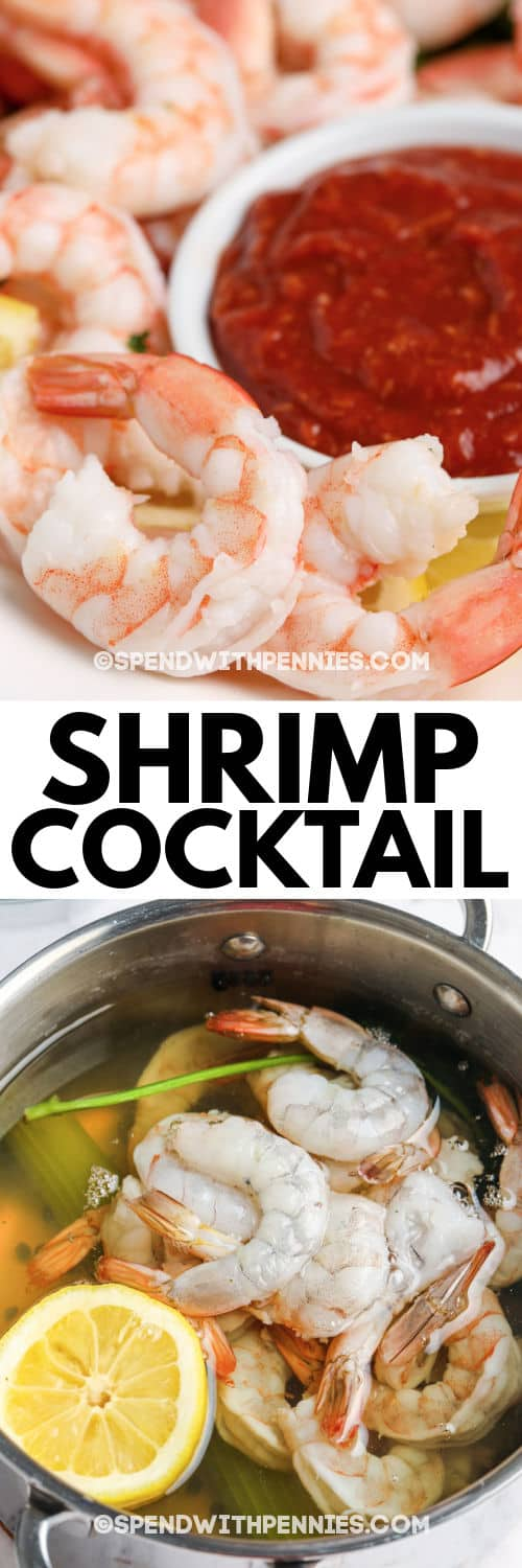 Shrimp Cocktail in the pan and plated with a title