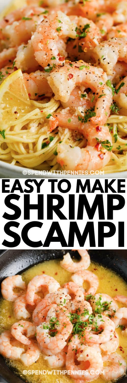 Shrimp Scampi before and after being plated with writing