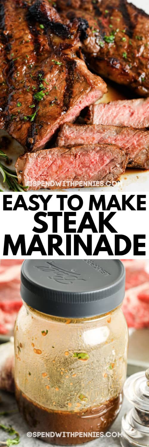 steak marinade and slices of steak on a plate with a title