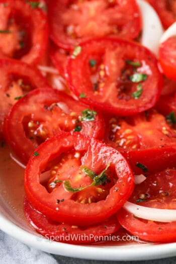close up of Marinated Tomatoes on a plate