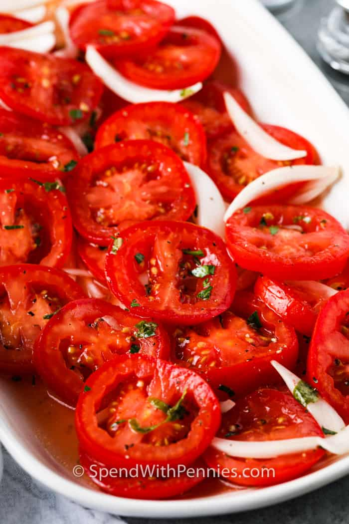 Marinated Tomatoes on a platter