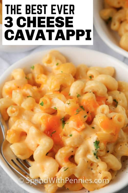 3 Cheese Cavatappi in a bowl with writing