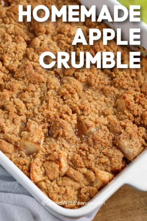 Apple Crumble in a white baking dish with a title