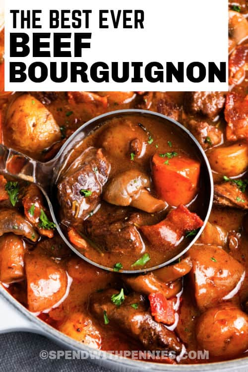 pot and laddle full of Beef Bourguignon with writing