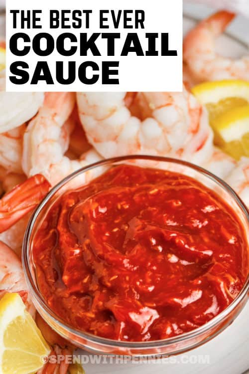 Cocktail Sauce with shrimp and a title