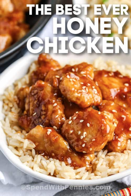 Honey Chicken on rice with writing